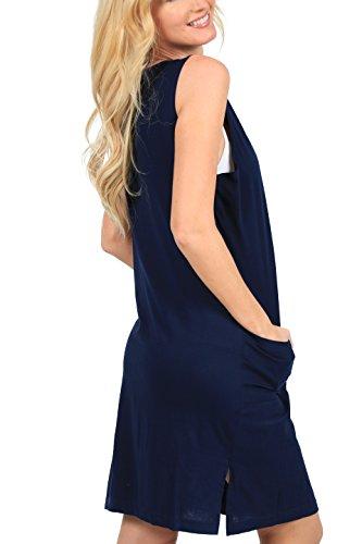 Ingear Cover Beach Dress Short Up Shift Dress Cotton Tank Navy Summer rZwRqx8r1
