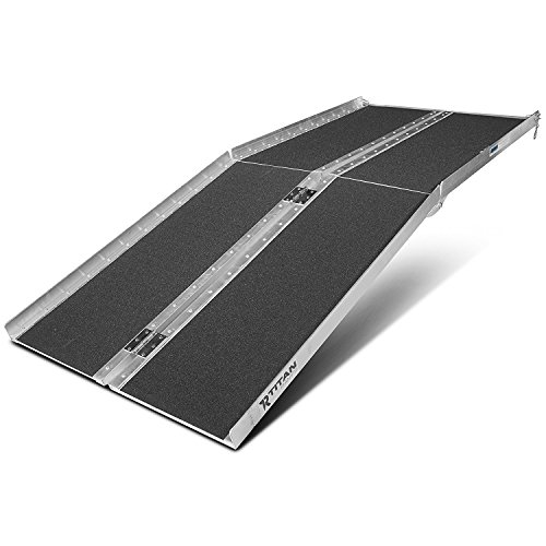 Aluminum Wheelchair Ramp Portable - ORFORD Utility Mobility Access Non Skid Folding Wheelchair Ramp For Home, Steps,Stairs And Wheelchairs 6ft
