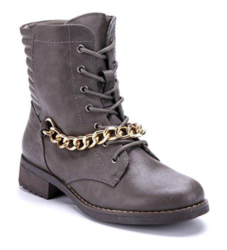 Schuhtempel24 Damen Schuhe Klassische Stiefeletten Stiefel Boots Blockabsatz Zierkette 3 cm Grau