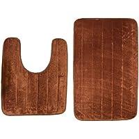 Boncou Non-slip Bath Mat Combo - Washable U-shaped Toilet Floor Mat and Rectangle Bathroom Carpet Pad Shower Bath Rugs(U20x24,20x32Inch,Brown)