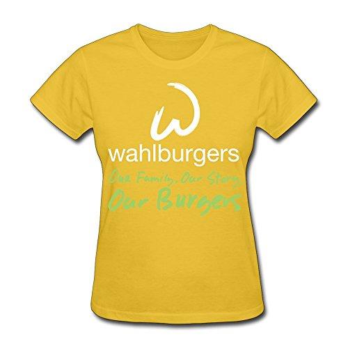 WXTEE Women's Wahlburger Family Story Burgers Tee Size XXL Yellow