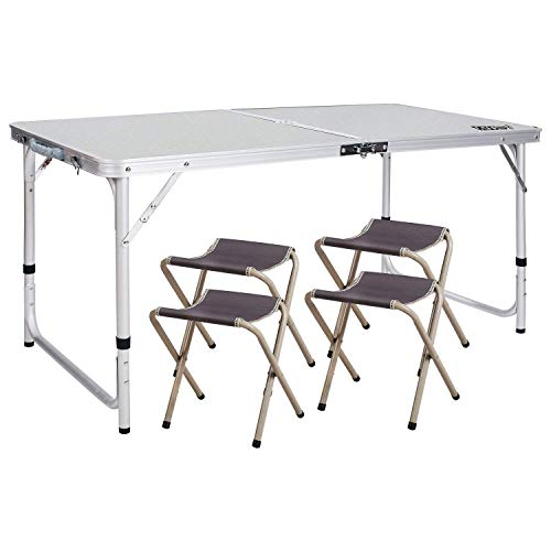 REDCAMP Outdoor Picnic Table Adjustable, Folding Camping Table with 4 Chairs, Aluminum White 47.2″x23.6″x27″