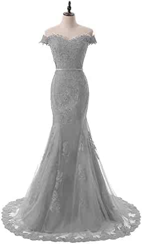 5fc889e9d38c DINGZAN Off Shoulder Mermaid Lace Bridal Party Dresses Cap Sleeve Prom Gown