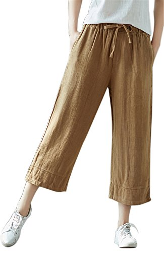 Women Casual Office Loose Capri Wide Leg Pants with Pockets Elastic Waist Drawstring Simple Solid Cotton Linen -