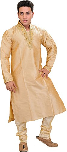 Exotic India Frosted-Almond Wedding Kurta PA - Metallic Size 40 by Exotic India