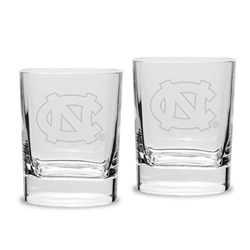 NCAA North Carolina Tar Heels Luigi Bormioli Square Round Double Old Fashion Glass - Set of 2, Clear, 11.75 - Old Fashioned Carolina Double