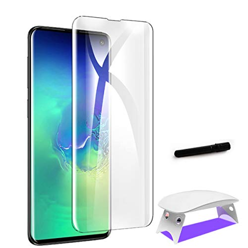 Samsung Galaxy S10 Screen Protector, Exclusive Solution for Ultrasonic Fingerprint Full Coverage Liquid UV Anti-Bubble Tempered Glass Screen Protector (Galaxy S10)