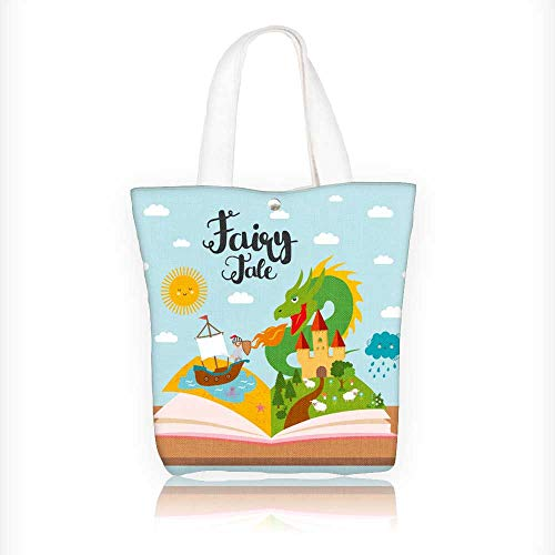 (Canvas Tote Bags fairy tale concept kids with evil dragon ship on sea dense forest brave warrior Design Your Own Party Favor Pack Tote Canvas Bags by Big Mo's Toys)