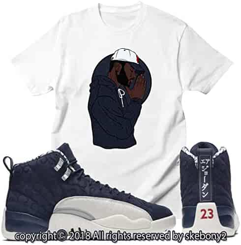 cd507d2de62 Custom T Shirt Matching Style of Air Jordan 12 International Flight College  Navy JD 12-