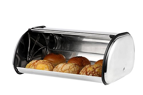 Stainless-Steel-Bread-Box-with-Roll-Top-Lid-for-Kitchen-Bread-Bin-Storage-Container-For-Loaves-Pastries-and-More-Retro-Vintage-Inspired-Design-SilverBlack-177-X-112-X-74-Inches