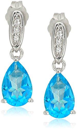 Platinum Plated Sterling Silver Swarovski Paraiba Blue and White Topaz Drop Stud Earrings -