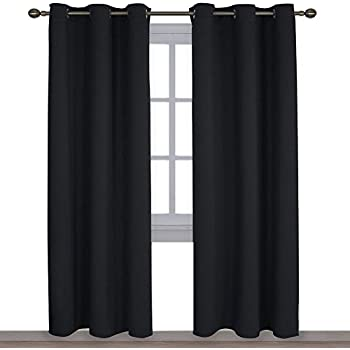 NICETOWN Autumn/Winter Thermal Insulated Solid Grommet Blackout Curtains/Drapes for Living Room (Set of 2,42 inches by 84 Inch,Black)