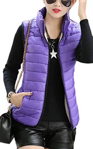 Stand Womens Zipper Puffer Color Quilted Vest Dark Vest amp;E Purple Collar Warm H Pure Down 1qTX5WwZ