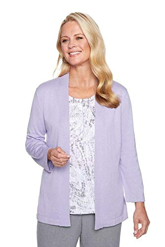 Alfred Dunner Women's Petite Two for one Sweater, Plum, PM