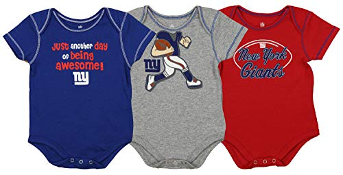 Outerstuff NFL Boys Newborn and Infant Assorted Team 3 Pack Creeper Set, New York Giants 6-9 Months - New York Giants 8 Piece