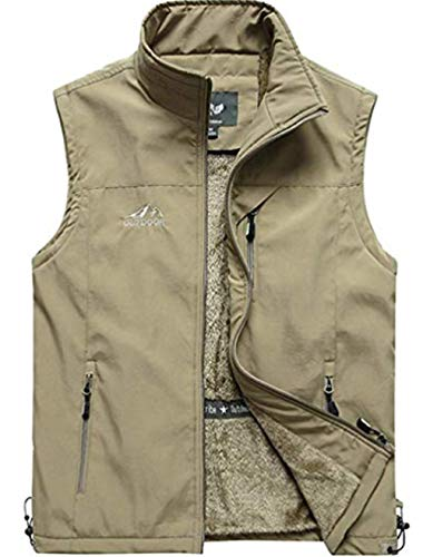 XinDao Men's Stylish Leisure Full Zip Vest Cashmere Warm Vest Lightweight Stand Quilted Coat Khaki US M/Asia 3XL (Full Quilted Zip Coat)