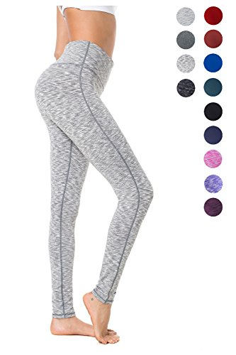 Queenie Ke Women Power Flex Yoga Pants Workout Running Tights Plus Size Leggings Size XXL Color Space Dye Heather Grey