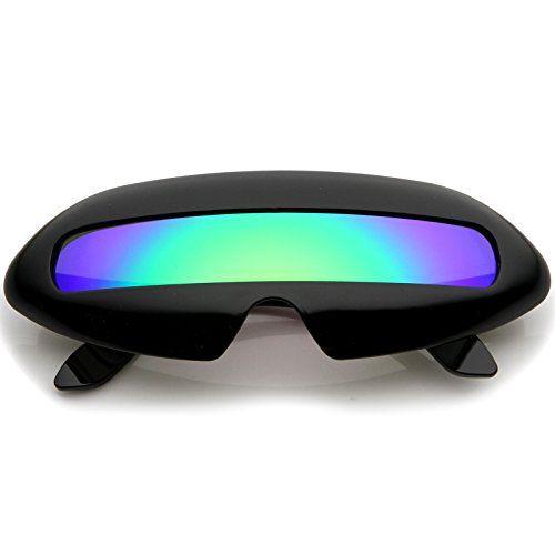 Create an out of this world look with these futuristic inspired sunglasses. Designed with a large wrap around style frame and a single colored mirror shield lens, these bold sunglasses are sure to catch anyone's attention. Complete with a glossy fini...