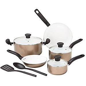 T-fal C714SA Initiatives Nonstick Ceramic Coating PTFE PFOA and Cadmium Free Scratch Resistant Dishwasher Safe Oven Safe Cookware Set, 10-Piece, Gold
