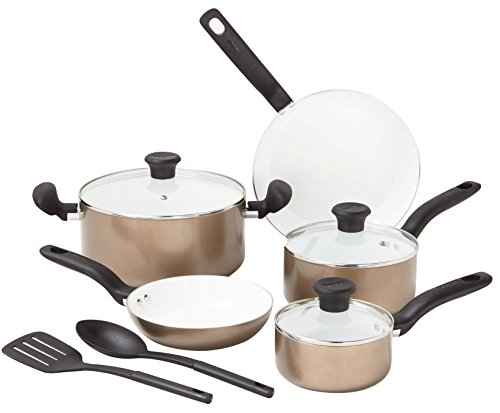 T-fal C714SA Initiatives Nonstick Ceramic Coating PTFE PFOA and Cadmium Free Scratch Resistant Dishwasher Safe Oven Safe Cookware Set, 10-Piece, Gold (Ptfe Free Pan compare prices)