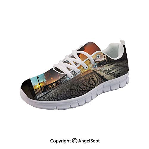 Athletic Running Shoes City Bridge at Night Lights Lightweight Sneakers -
