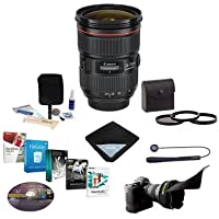 Canon EF 24-70mm f/2.8L II USM Zoom Lens, USA Warranty - Bundle with 82mm Photo Filter Kit, Flex Lens Shade, Lens Cap Leash, Pro Lens Cleaning Kit, Lens Wrap 15x15, Special Pro Software Package