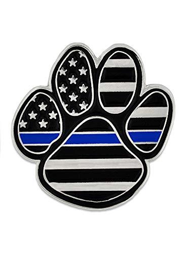 PinMart Law Enforcement Thin Blue Line K9 Police Dog Paw Print Lapel Pin ()