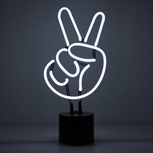 Light Sign Sculpture (Amped & Co, Peace Sign Neon Light, White, Desk Lamp Decor, Large 6.9x14.5)