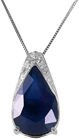 Galaxy Gold 14k Solid White Gold Necklace 4.65 Carat Natural Sapphire Pendant