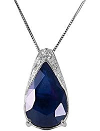 14k Solid White Gold Necklace 4.65 Carat Natural Sapphire Pendant