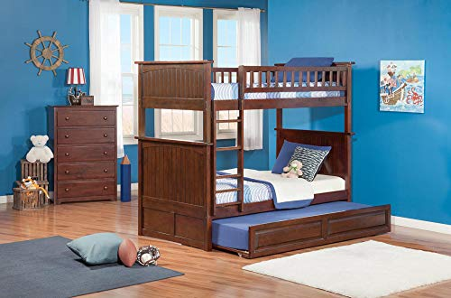 Atlantic Furniture AB59134 Nantucket Bunk Bed with Twin Size Raised Panel Trundle, Twin/Twin, Walnut