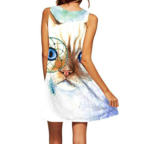 Boho Vintage Mangas Verano Vestido Mini Impreso Mujeres sin Absolute Azul ❤️ de Vestido Playa Corto Mujer twqFFI8