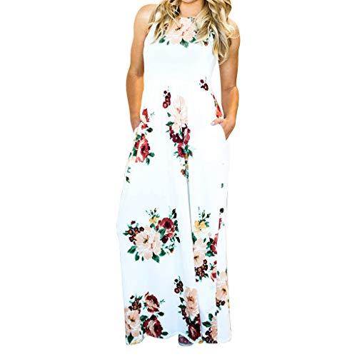Women Floral Print Sleeveless Loose Maxi Hawaiian Bohemian Dress with Pockets