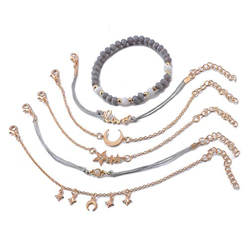 FightLY 6 Pcs/Set Trend Moon Stars Love Gems Star Crescent Wafer Chain Bracelet Set Women Stone Beads Jewelry Party Accessories Gifts