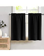 Blackout Kitchen Curtains Tier Curtains Black Window Curtain Set Cafe Curtains for Living Room Bedroom Bathroom 24 Inch Length Small Thermal Insulated Drapes 2 Panels
