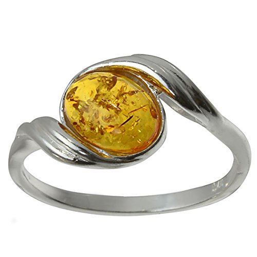 Sterling Silver and Baltic Honey Amber Ring