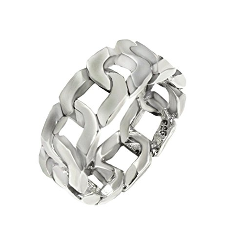 Curb Link Style Band 8 mm wide Oxidized Solid .925 Silver ring designer (Curb Link Band Designer)
