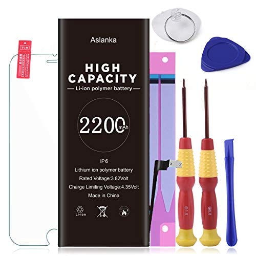 Aslanka Battery for Model iPhone 6,High Capacity 2200mAh Battery Replacement with Repair Tool Kit, Include Instructions and Screen Protector -[2-Year Warranty]