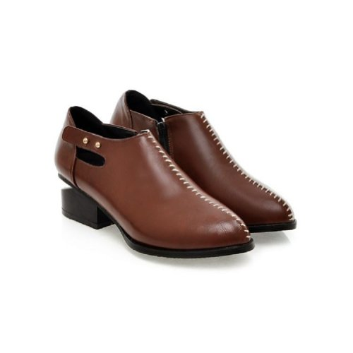 Shoes Pointed Foot Low Brown Casual Heel Shoes Vintage Womens Charm vwFOWYHqA