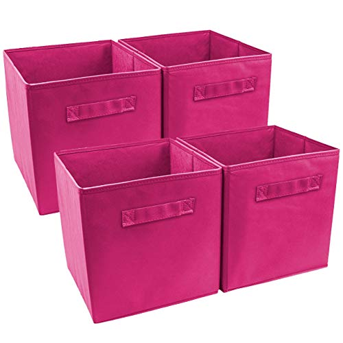 4 Pack Collapsible Storage Cubes with Convenient Handle, Foldable Storage Bins Basket Box Organizer for Home Office Standing Shelf Closet, Decluttering Clothes Games Toys Art & Craft Supplies -