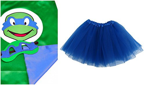 [Superhero or Princess TUTU, CAPE, MASK SET COSTUME - Kids Childrens Halloween (TMNT - Leonardo Blue] (Ninja Turtles Child Costumes)