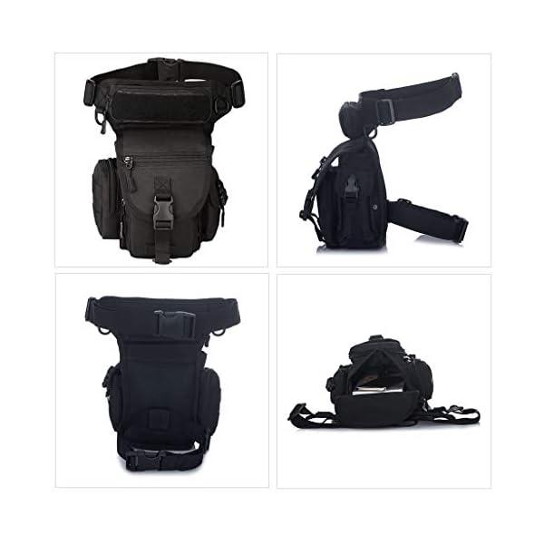 Huntvp Bolsa de Pierna Bolsa Táctical Militar Impermeable para Correr Senderismo Ciclismo Camping Caza, Negro/Verde… 8