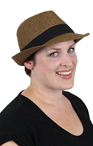 Ricki Short Brim Fedora Unisex Summer Panama Chemo Hat for Women and Men (MEDIUM, BROWN)