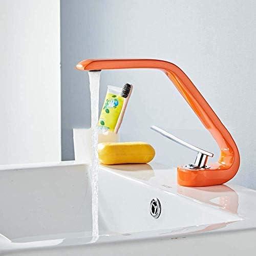 CHENBIN-BB ファッションクリエイティブオレンジ盆地温水と冷水の蛇口真鍮カーブ浴室洗面ミキサー防錆