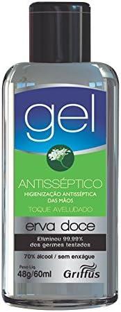 Gel Antisséptico 70% Erva Doce, 60 ml, Griffus Cosméticos