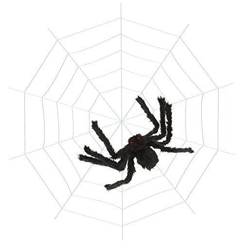 BBTO 11.5 Feet Spider Web with 2.5 Feet Large Black Halloween Spider for Halloween Decoration Party -