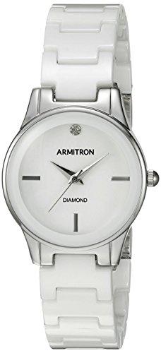 Armitron Women's 75/5348WTSV Diamond-Accented Silver-Tone and White Ceramic Bracelet Watch
