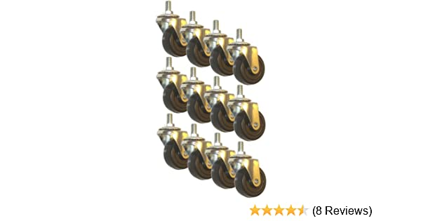 """Wholesale 150 Lot Swivel Stem Caster 2/"""" Rubber Wheel 1.1/"""" Threaded Stem Length"""