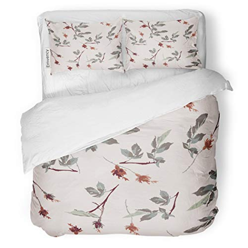 (SanChic Duvet Cover Set Green Romantic Leafy Rosebud Pattern Cream Off Red Decorative Bedding Set with 2 Pillow Cases King Size)