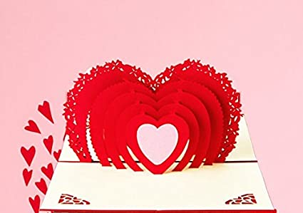 Love Heart Valentine Day Gift 3D Pop Up Handmade Romantic Thank You Greeting Cards To Girlfriend